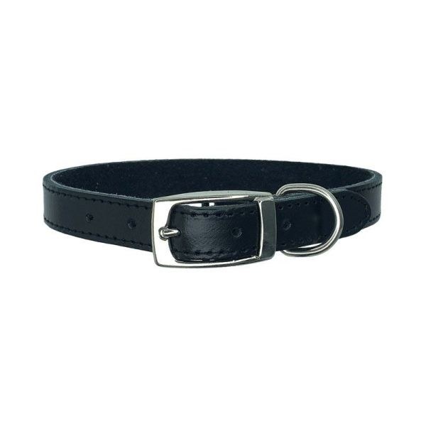 Black leather dog collar made in Australia from premium leather and soft suede lining for dogs