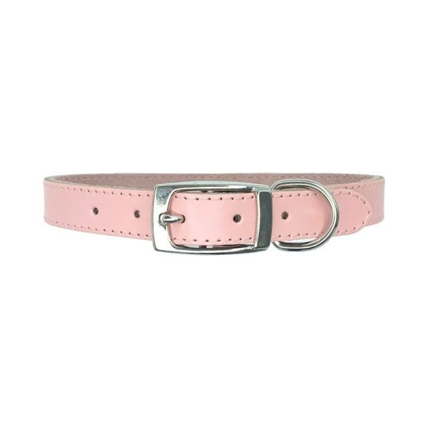 Baby pink leather dog collar made from super soft leather and comfortable suede lining