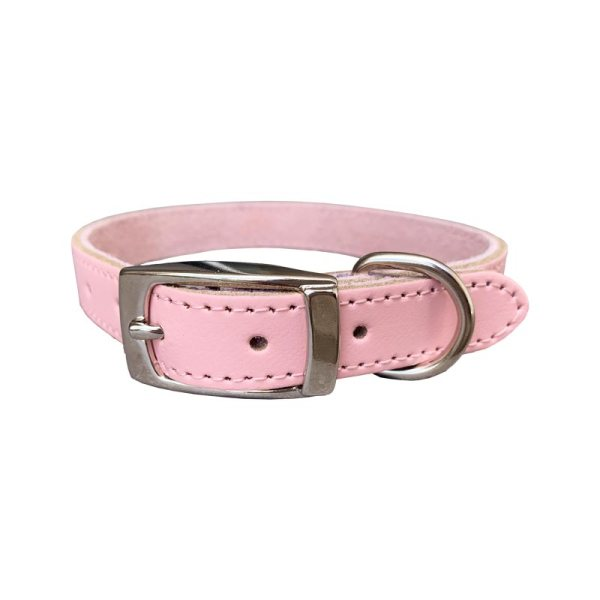 Soft baby pink leather dog collar for girls. It has a suede lining on the inside to make it soft on the dogs neck
