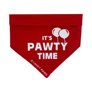 """Cute red dog birthday bandana with """"its pawty time"""" done in white vinyl with little balloons. Great for any dog party!"""