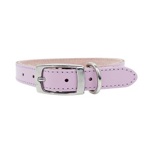 Light colour lilac purple dog collar. It has beautiful soft leather on top and soft suede on the inside