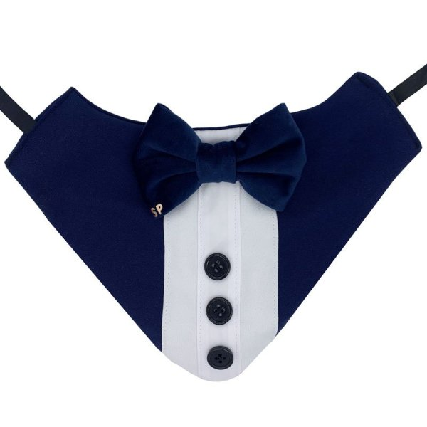 Navy blue dog tuxedo bandana with 3 buttons and a soft velvet bow tie