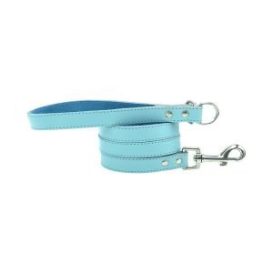Light blue dog leash made from beautiful soft blue leather and comfortable suede lining on the inside