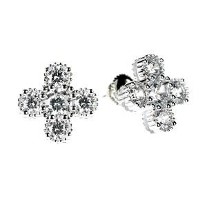 Clover Shaped Fashion Stud Earrings (14K + Cubic Zirconia)