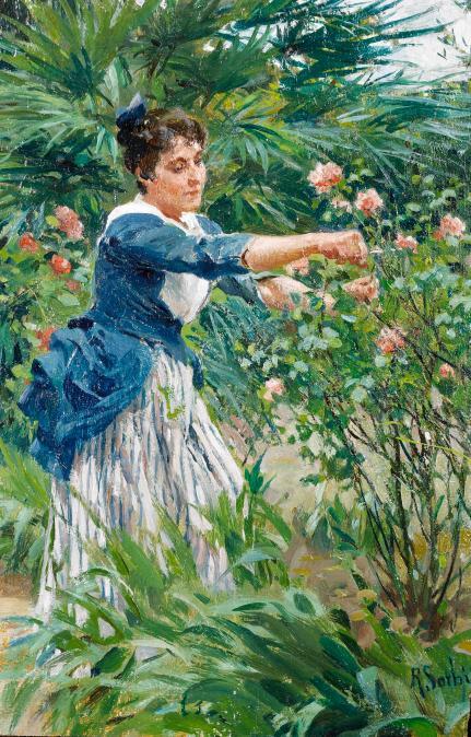 Pruning the roses, by Raffaelo Sorbi, c 1931. (Source: https://commons.wikimedia.org/wiki/File:Raffaello_Sorbi_Pruning_the_roses.jpg)