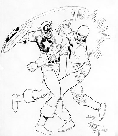 Captain America and the Red Skull, pencils by Kevin Maguire, inks by Joe Rubinstein