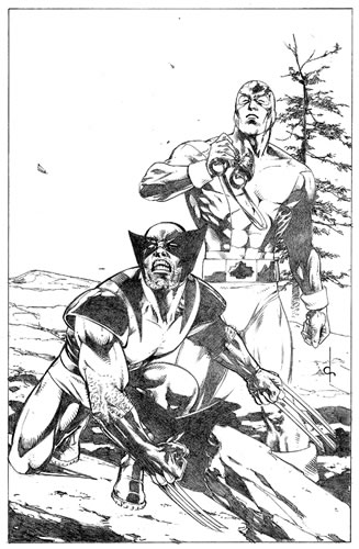 Wolverine and Captain Canuck, pencils by comics artist Dave Ross