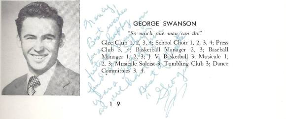 George Swanson - Templeton High School Yearbook - Class of 1954