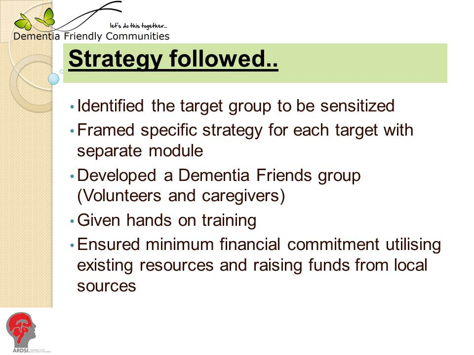 slide showing strategy to build dementia friendly communities