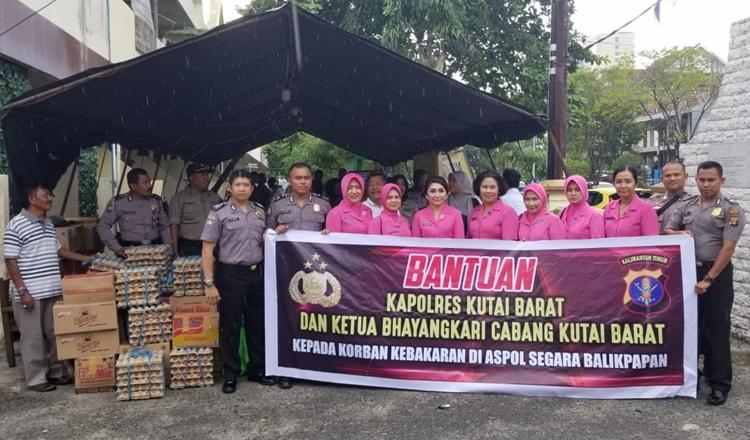Polres dan Bhayangkari Kubar, Salurkan Bantuan Kebakaran di Aspol Segara Balikpapan