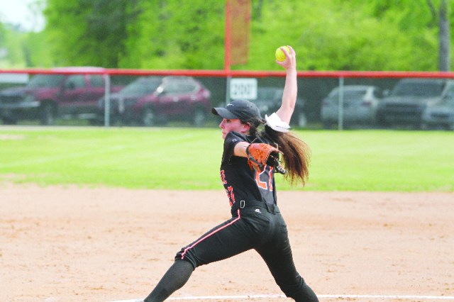 Anna Kesterson winds up to pitch Tuesday afternoon in a one sided affair at home against Lake Hamilton. The Scrapperettes were easily able to handle Lake Hamilton and keep their perfect conference record.