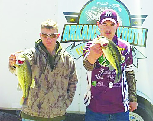 "Luke Fiorello, left, and Johnathan Legrange, right, finished in third place in the junior high division at the ""Seige on Bull Shoals."" The pair has qualified for the state tournament to be held April 16 on Lake Ouachita. Photo by Rochelle Bissell"
