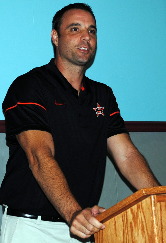 Coach Mike Volarvich speaks to the Nashville Rotary Club Aug. 24.
