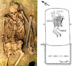 Погребение из курганного некрополя Кутулук, недалеко от Самары (Россия). Фото: Reich D. et al. / bioRxiv.