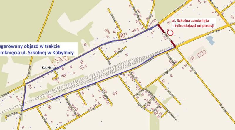 Kobylnica, ul. Szkolna: modernizacja i objazd