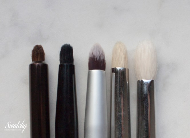 Little comparison: No7 smokey eye brush, MUA E9, Barbara Hofmann for Di, MAC 219, Zoeva 231.