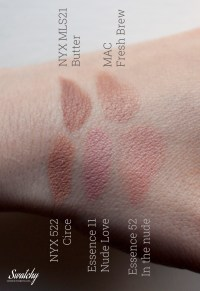 NYX Butter, MAC Fresh brew, NYX Circe, Essence 11 Nude love, Essence 52 in the nude