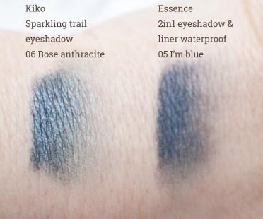 Kiko Sparkling trail eyeshadow 06 Rose anthracite, Essence 2in1 eyeshadow & liner waterproof 05 I'm blue