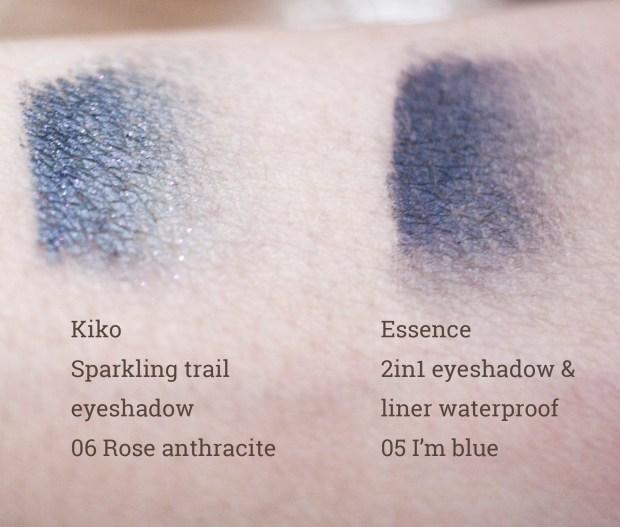 Kiko Sparkling trail eyeshadow 06 Rose anthracite, Essence 2in1 eyeshadow & liner waterproof 05 I'm blue - artificial light
