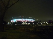 Stadium at night, with color-changing panels