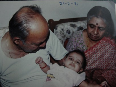 Tatha and paati with a baby me