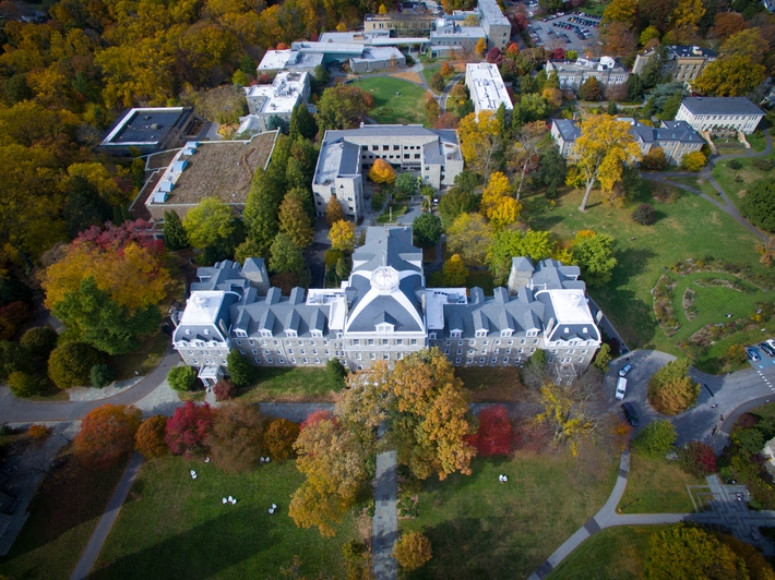 Drone photo of Parrish Hall