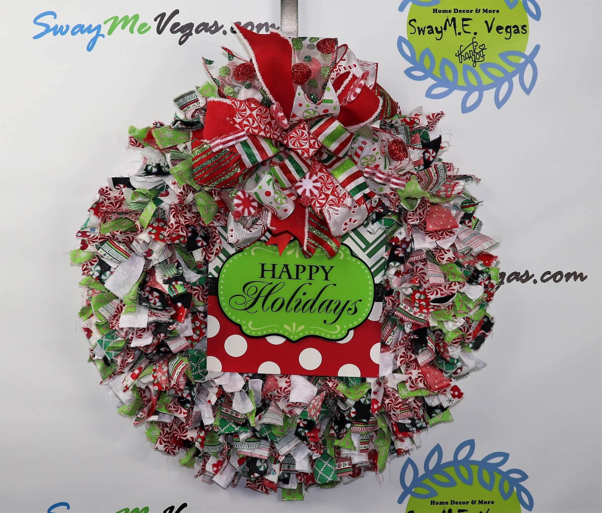 Christmas Fabric Rag Wreath Home Decor Wreaths Garland