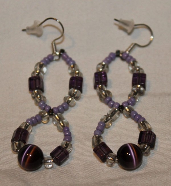 Purple and Clear Beaded Circle Earrings