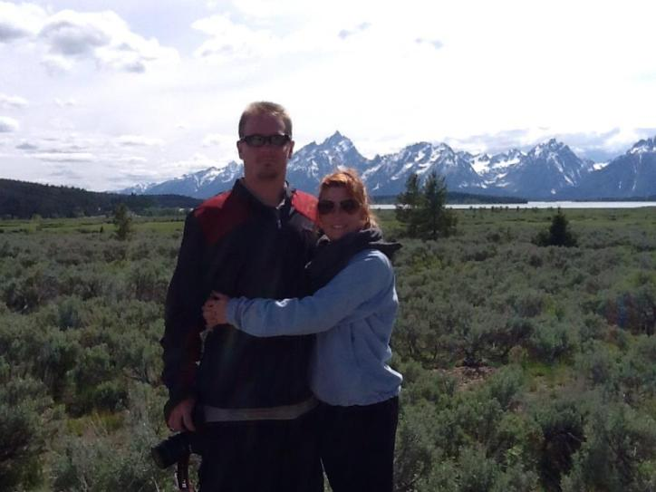 Hugs in front of the Tetons!