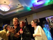 Sebastian Roche takes a selfie with Julie McNiven and Mandy Musgrave.