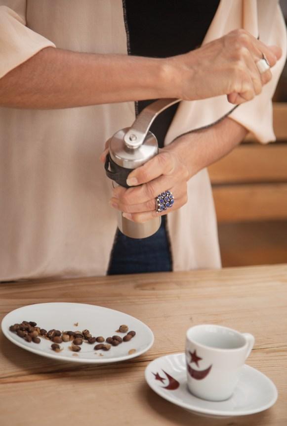Simran Sethi making coffee
