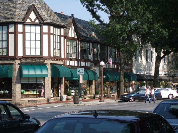 The downtown in a village in Westchester
