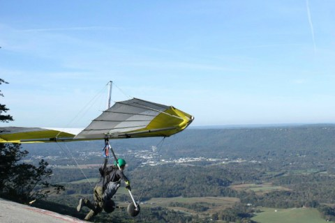 Sara Weaver hang gliding at Lookout Mountain