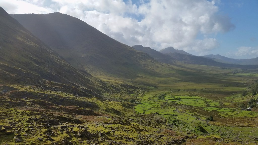 Once I traversed the Broaghnabinnia pass, a panoramic view of the expansive Bridia Valley stretched out beyond. The colors may appear over-saturated, but that is simply that the grass is always greener in Ireland. Photo: Sara Weaver, Sept. 2017.