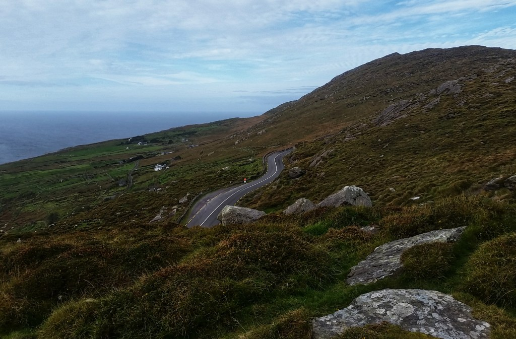 The winding, dangerous N77, known as the Ring of Kerry circumnavigated the Iveragh Peninsula and often meets up with the Kerry Way. Sara Weaver, Oct. 2017.