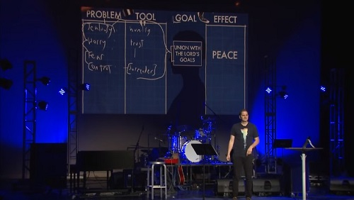 Curtis standing on a stage, with the problems / tools chart behind him.