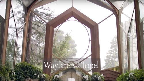 Window in the sanctuary of the Wayfarers Chapel