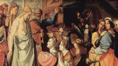 An image from a painting illustrating the parable of the ten young women. Jesus stands on the left of the image, while ten young women stand or kneel to the right.