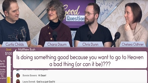 "The panel, Curtis, Chara, Chris, and Chelsea sit at the anchor desk. Below, a screen shows the question, ""Is doing something good because you want to go to Heaven a bad thing?"""