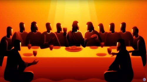 An illustration in black, orange and red of the last supper, the twelve disciples gathered at a table with Jesus.