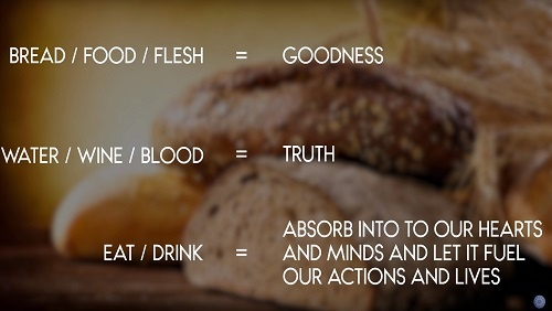 "Illustration of the correspondences. Text reads: ""bread / food / flesh = goodness. Water / wine / blood = truth. Eat / drink = absorb into our hearts and minds and let it fuel our actions and lives."""