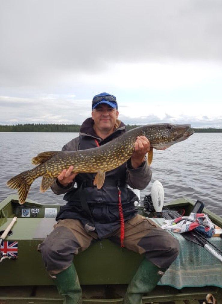 Vindeln Umea Vasterbotten Sweden 110cm pike fishing boat trip with sweden fishing and birding
