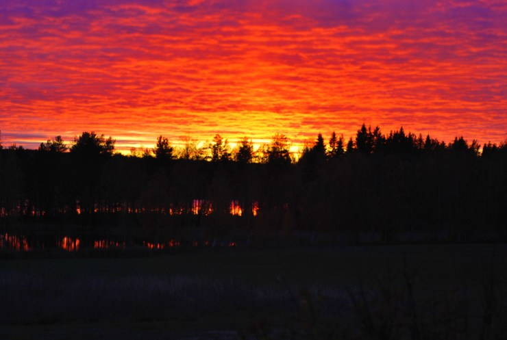 Northern Sweden - fire in the sky.
