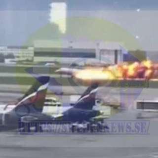 اشتعال النيران بالطائرة الروسية