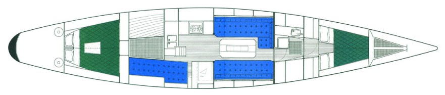 Cabin Layout Swede 55 © Swedesail