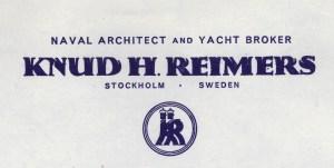 Reimers letterhead with a logo resembling A&R © Sjöhistoriska museet