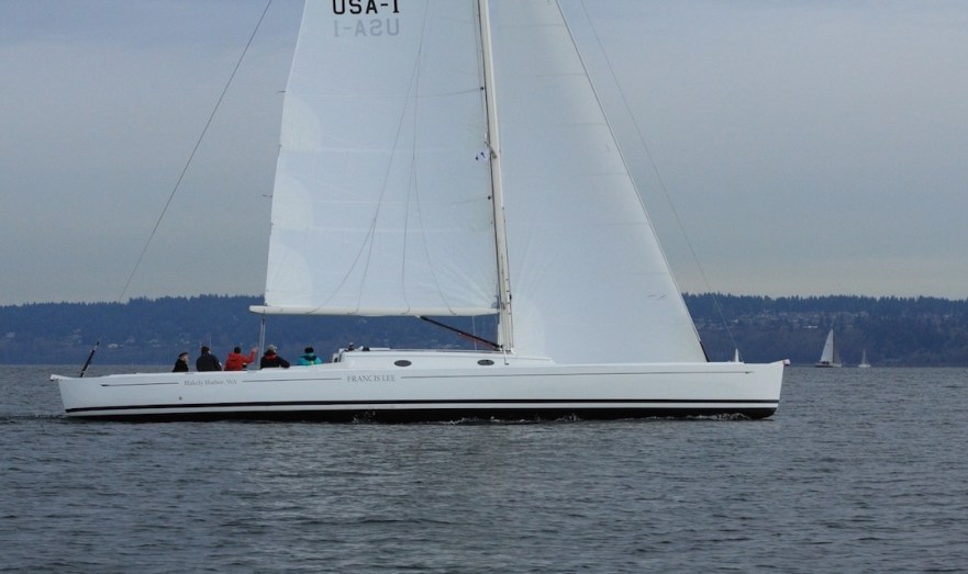 19,000 lbs easily driven by just 1,185 sq ft sail area: Francis Lee in Seattle waters © Boomer Depp