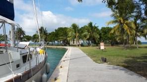 The sea wall in Boca Chita harbor.