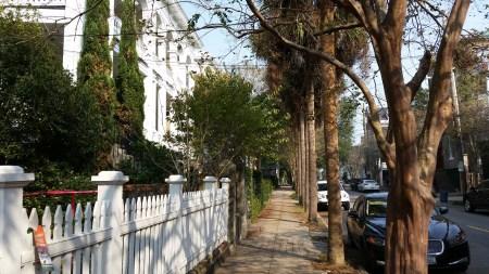 The sidewalk along Montagu Street.