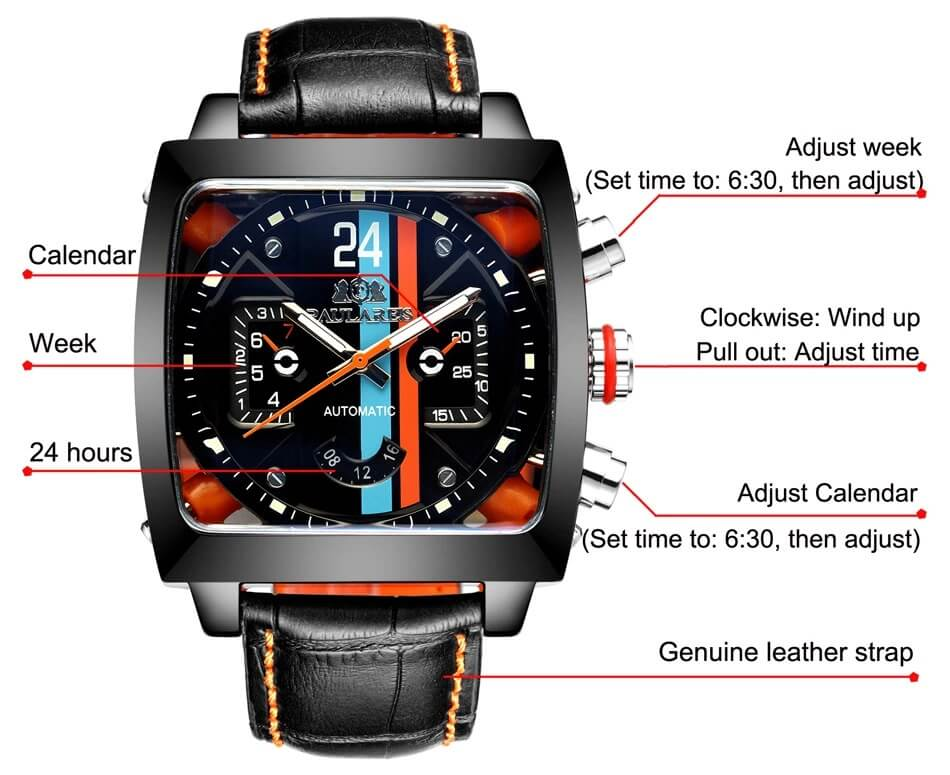 Automatic Watch Leather Strap 4